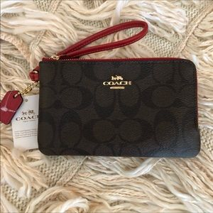 Coach small wristlet F87591 Brown Ruby double zip